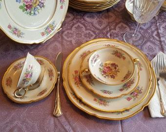 Original Price was 1,125.00 SALE 899.00 Castleton China, Vintage Dinnerware, China, Elegant Floral Design, 1950's Era FREE SHIPPING