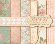 Shabby Roses Papers. Shabby Chic Backgrounds. Shabby Lace Papers. Scrapbook Sheet Roses. Baby Shower Templates. Baby Card Tamplates