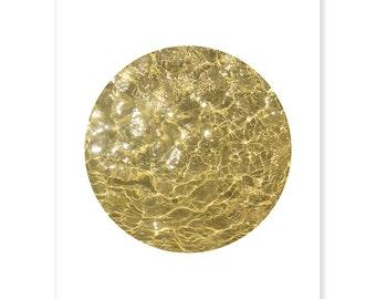 Liquid Gold Art, Sparkling Printable, Modern Circle Print, Joga Studio Decor, Golden Wall Art, Water Print, Minimalistic Art, On Trend Print