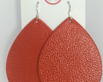 Tangerine Leather Earrings
