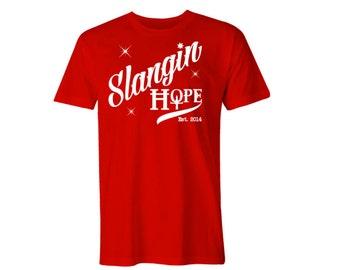 Slangin Hope 12 Step Recovery, Mens Red Shirt White Vinyl