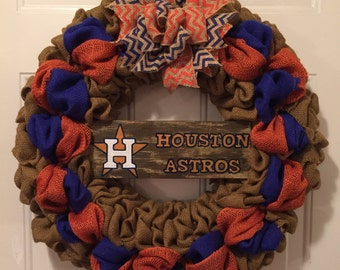 Houston Astros wreath, Houston Astros burlap wreath, Houston Astros sign, Astros front door wreath, Houston Astros deco, Astros wreath