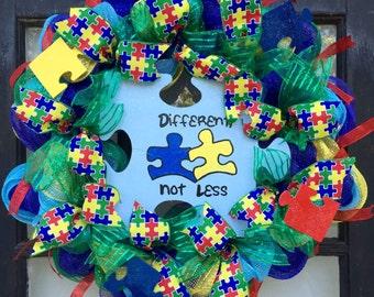 Autism awareness wreath, autism puzzle wreath, puzzle wreath, light up blue wreath, autism wreath, puzzle piece decoration, autism support