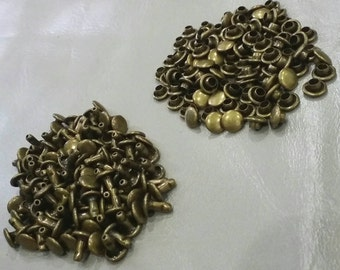 100 pcs, 6 mm. Antique Brass Round Double Rivets and Studs, For Leather Craft, Bag and Purse, Accessories.