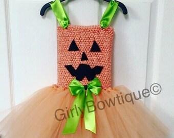 Pumpkin tutu dress & matching clip
