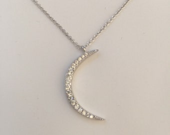 Moon necklace,moon crescent necklace,sterling silver CZ crescent moon pendant necklace