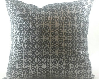 """Silver and black metallic cushion cover. Fits an 18""""x18"""" pillow insert."""