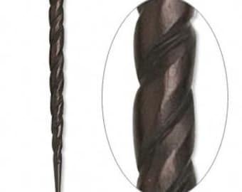 Black Hair Stick, Bone Hair Stick, Carved Twist Hair Stick, 4 to 4-1/2 inch, 2 each, D606