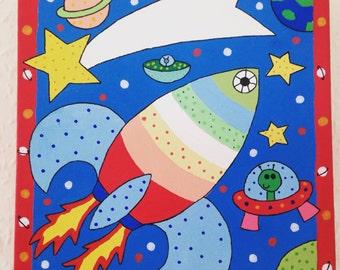 Rocket nursery canvas