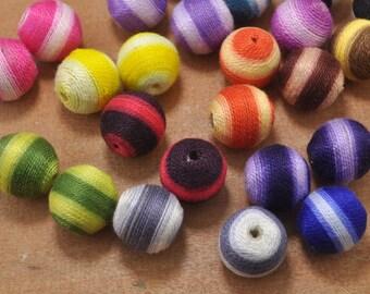 10pcs ball beads,cotton Round Beads,stripe round beads,20mm plastics handmade Beads of Mixed Color.