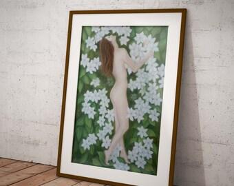 Jasmine - Flower Fairy,  An Original Pastel Painting by Meriel Hebden, part of the Flower Spirits and Devas Series.