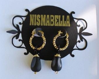 Black Teardrop Hoop Earrings