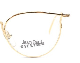 383b0d3f2f4 Vintage Jean Paul Gaultier 55 3177 22KGP eyeglasses frames   luxury glasses    semi rimless frames