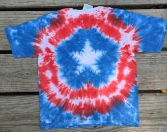 Captain America short sleeve tie dye t-shirt, tie dye, 4T