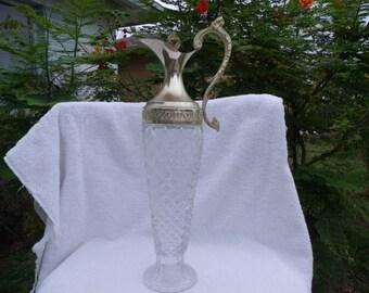 Elegant Brass and Glass Wine Decanter