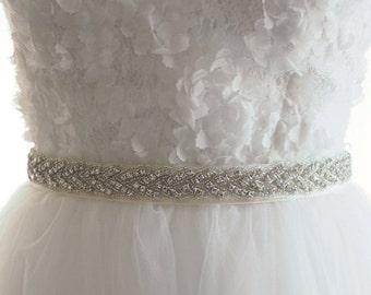 Slim rhinestone and beaded Bridal Sash - Wedding Sash - on white satin