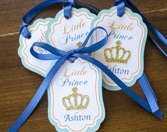 12 Personalized Thank you Favor Tags, Little Prince Blue, Prince Crown, gold crown