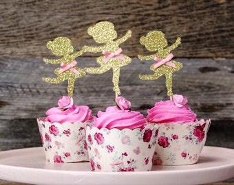 12 ballerina cupcake topper, ballerina, dance