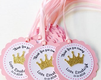 12 Pink and Gold Crown Favor, Thank you Tags, Baby Shower, Personalized-12CT