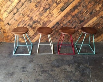 Custom Painted Steel Walnut Stools