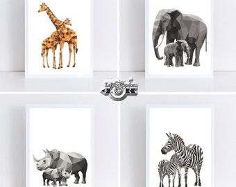 Safari Prints, Geometric prints, set of 4 Animal prints, Nursery Prints, Boys prints, Bedroom  Wall Prints