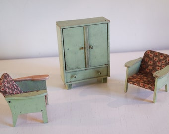 Vintage 1950 set of 2 armchairs and a wardrobe