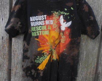 One of a kind custom Bleached August Burns Red Rescue & Restore band t shirt ripped torn destroyed tour concert street wear look Medium