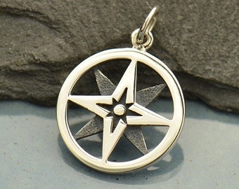 Sterling Silver, North Star, Compass Charm, North Star Charm, Silver Compass Charm, North Star Jewelry, Compass Jewelry, Travel Jewelry