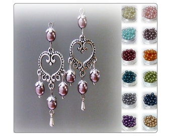 Earrings, Vintage style silver heart chandelier and pearl, choose your colour, clip on or pierced