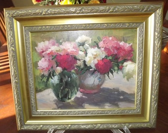 Vintage Litho Vibrant Floral Picture w. Beautiful Ornate Frame
