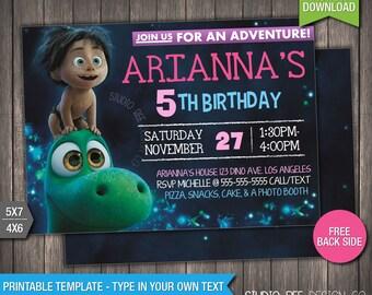 The Good Dinosaur Invitation - INSTANT DOWNLOAD - Printable Disney Pixar The Good Dinosaur Birthday Invite - DIY Personalize &Print (GDin04)