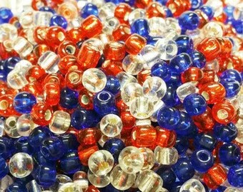 6/0 Seed Bead Mix Red, White, and Blue, Bead Weaving, 4th of July Beads, Colorful Beads, Glass Beads, Glass Seed Bead, Beading Supply S3067