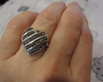 Beautiful, shiny sterling silver heart-shaped ring with marcasites