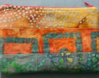 Batik clutch - soft, zippered, lined - One of a kind