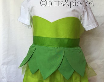 Tinkerbell inspired Comfy T-Shirt Dress sizes 2 and 3 (for ages 2-3, 3-5.)