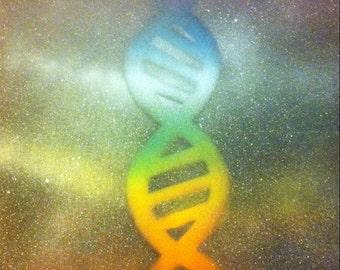 Wall Art, Spray Paint Art, Cosmic, Chakra, DNA