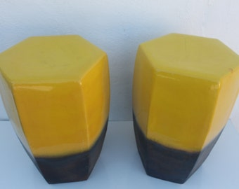Delightful Vintage Vibrant Yellow Color Ceramic Garden Stool A  Pair .