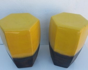 Vintage Vibrant Yellow Color Ceramic Garden Stool A- Pair .