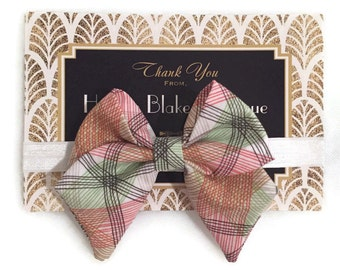 Spring Plaid Tailed Fabric Bow