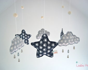 Mobile stars and clouds rain beads