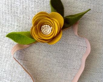 MUSTARD Wool Felt Flower Crown