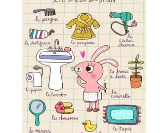 Salle de Bain-Bunny Print-Animal Illustration-Bathroom Print-Bathroom Decor-French Print-Kids Room Print-Cute Print-Nursery Decor(8 X 10 in)