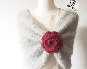Super soft knitted Loop Scarf - Pearl Grey with crochet Rose (choose your color), Infinity Wrap Shawl, Stole, Bolero, vintage, boho style