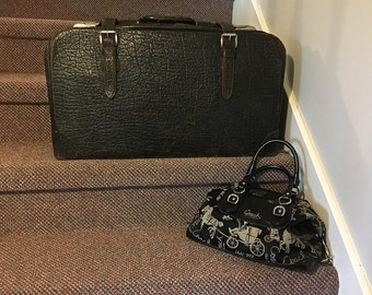 Vintage Travel Bag Suitcase Top Grain Cowhide Leather