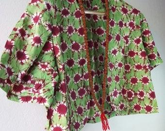 Vintage Tie Dyed Blazer, Multi-color ,Hippie,Boho Style, Purple and Green Blazer