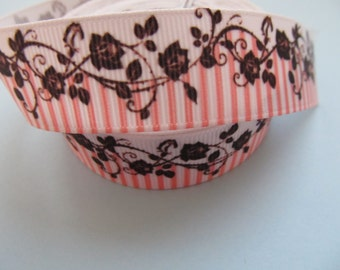 """Grosgrain Floral Flower Vine with Pink and White Stripes Ribbon 7/8"""" 22mm"""
