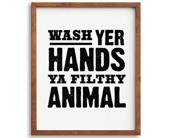 Wash your hands printable art bathroom printable art for Funny bathroom designs