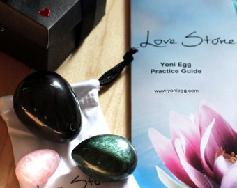 Yoni Eggs Set of 3 - Gift box, Pouch and Practice Guide - Genuine Certified Jade, Obsidian and Rose Quartz - DRILLED - Ultimate beginner Set