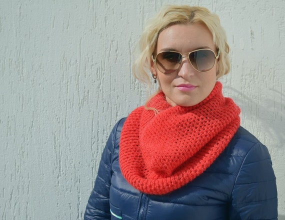 Infinity Scarf Knitting Pattern Mohair : Red scarf mohair christmas knit scarf gift infinity by ...