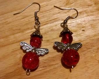 Red Angel Earrings Wing Style #1